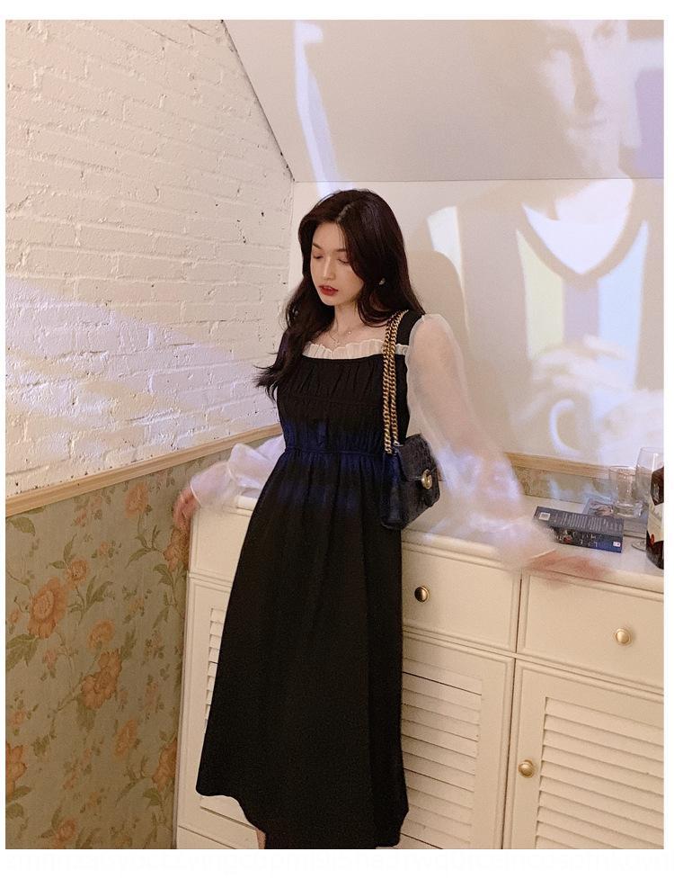 Petite robe noire 2020 Automne New Super fée déesse tempérament jupe longue jupe longue coutures revers douce maille lâche robe mi-longueur Si