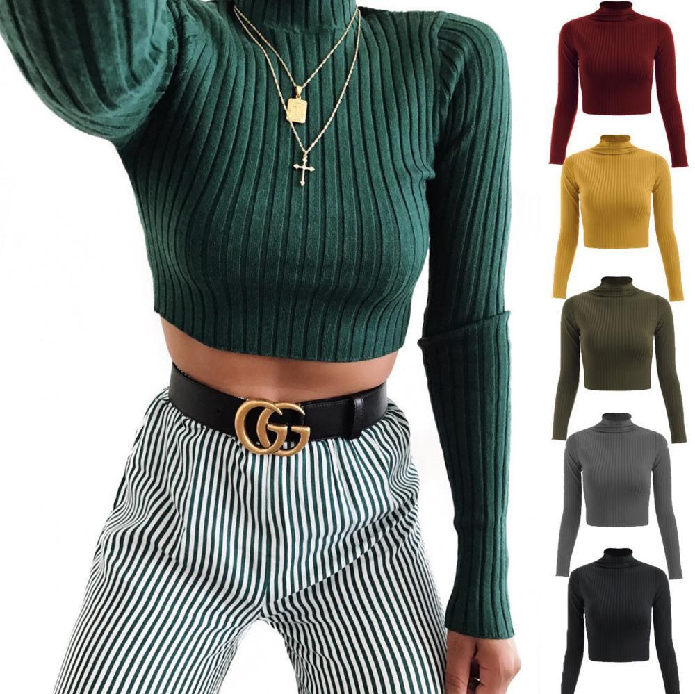 Moda Kadın Giyim Tasarımcısı Yarım Yüksek Yaka Katı Renk Uzun Kollu Örme T gömlek Bayanlar Casual Slim Navel Üst P875