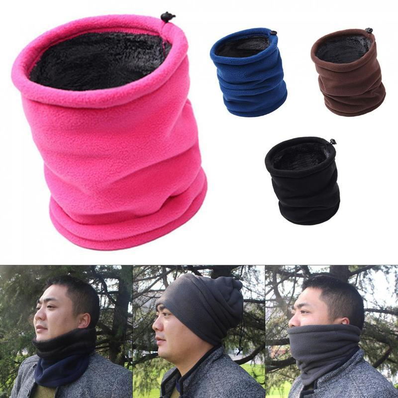 Outdoor Multifunctional Scarf Thermal Double Layers Polar Fleece Winter Warm Fleece Snood Neck Warmer Ski Hats