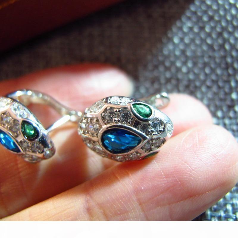 concepteur nouveau en argent sterling 925 diamants cube de cristal bleu zircons pierre petites boucles d'oreilles serpent 18K bijoux partie plaqué or pour les femmes