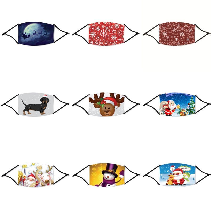 Riutilizzabile Viso Natale mascherina mascherine antipolvere lavabile PM2.5 di Natale con le maschere Valvola di cotone di protezione del lato di Natale Panno lavabile Ch # 357