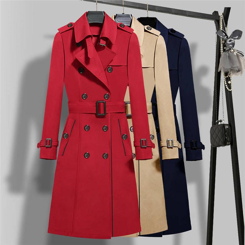 Tamaño de doble botonadura de color caqui largo capas de foso de las mujeres del otoño del resorte nuevo más 4XL 5XL de la correa delgada capa de abrigo rompevientos Mujer