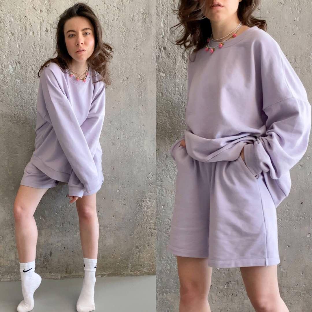 Mulheres Tracksuits 2 Piece Set Summmer outono Oversize camisola + Shorts Sporting Sweat conjunto de duas peças Outfit cor sólida Define T200826