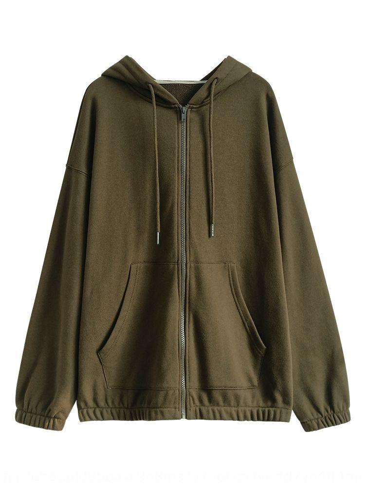 estilo con capucha suelta Escudo de Corea del 6sg4f Mujeres cremallera chaqueta de punto jersey de estilo estudiante perezoso capa suéter gris con cremallera para las mujeres