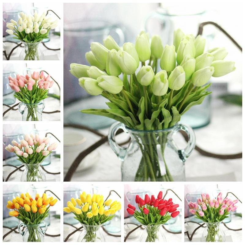 Поддельные Цветы Тюльпан Поддельные Цветы Настоящий Сенсорный Материал Искусственный Цветок Главная Свадебные Украшения Партия Поставки 32 см 12 Дизайн BT231
