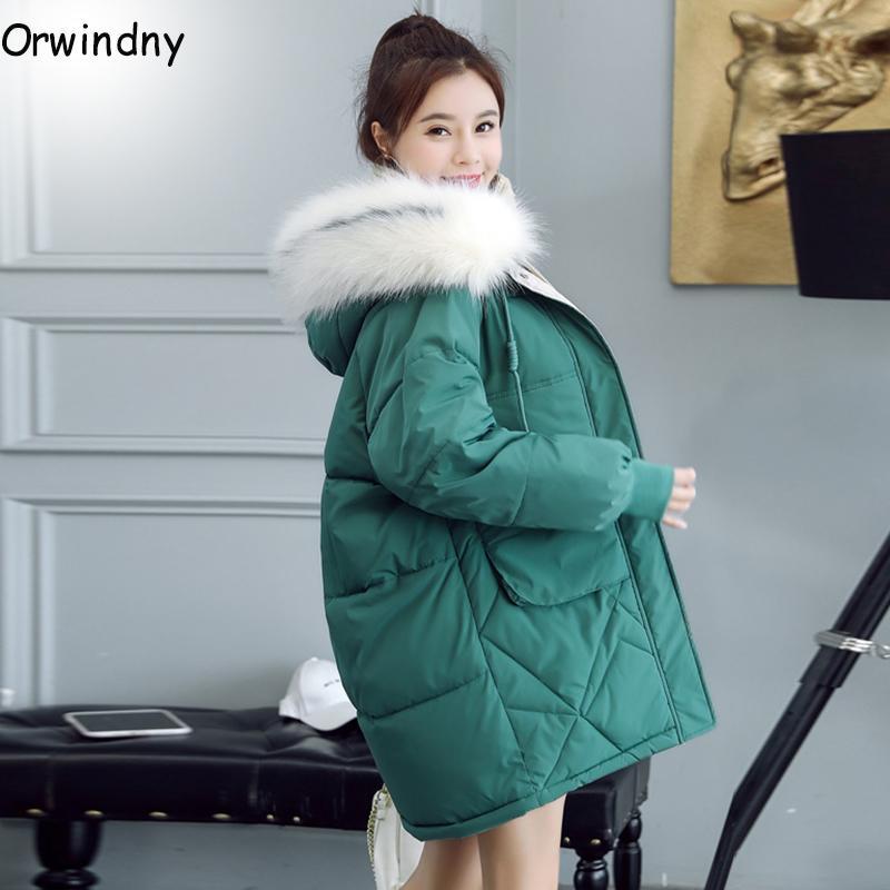 Orwindny Piumini femminile cappotto di inverno delle donne del parka con cappuccio cappotto caldo cappotto nuovo rivestimento in cotone imbottito Jacket più il formato S-3XL T200814