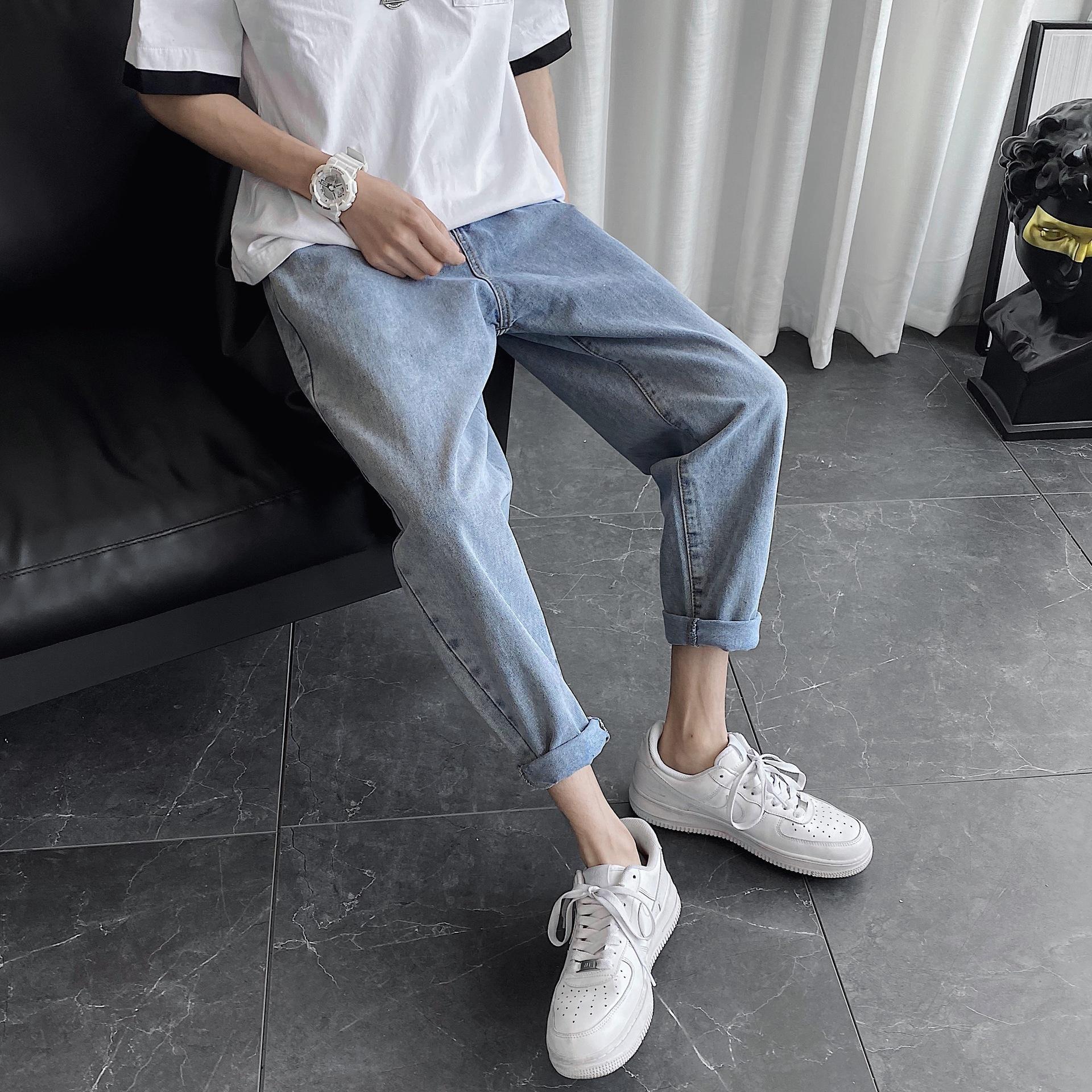 Прямые джинсы мужские летние рыхлый тонкий случайные Корейский стиль все-матч широкую ногу пят модные повседневные брюки и брюки Джинсы и trouse