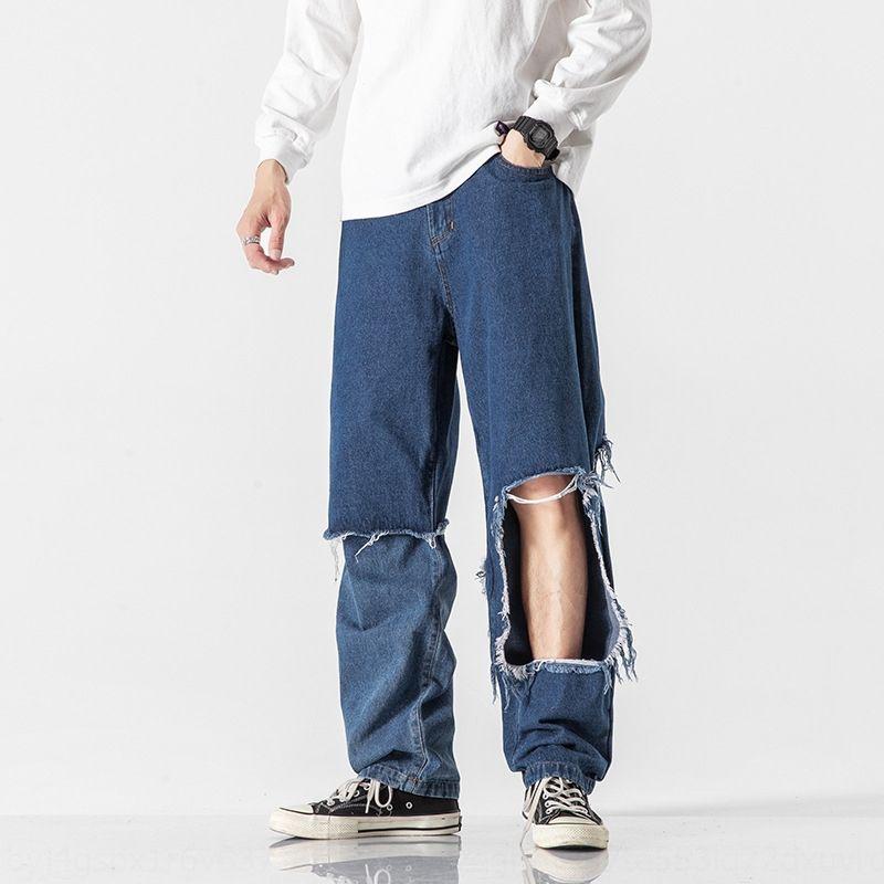 Hombres que son de ninguna manera vulgar otoño 2020 nuevos pantalones vaqueros rectos flojos de moda y jeans de marca agujero rompiendo falso de dos piezas de los pantalones HVY