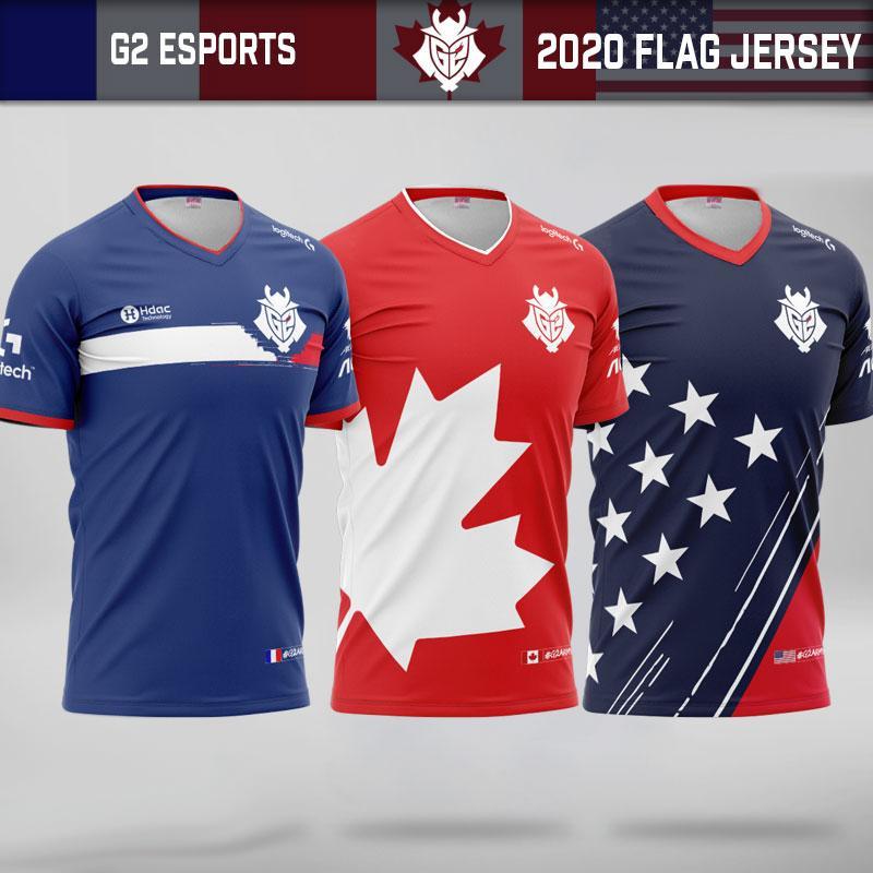 G2 Pro Player Custom Jersey Uniform 2020 LoL LEC G2 Esports Team Jerseys Customize Name Fans Tshirt Men Women Tee Shirt Kenny