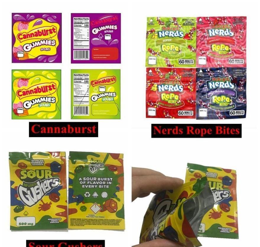 Майларовый Упаковка Edibles Gummy Smell New Candy Укусы Rope Cannaburst Упаковка ботаников 500мг Sour фонтанов Proof Сумки Сумки Съедобные Empty E2008 G