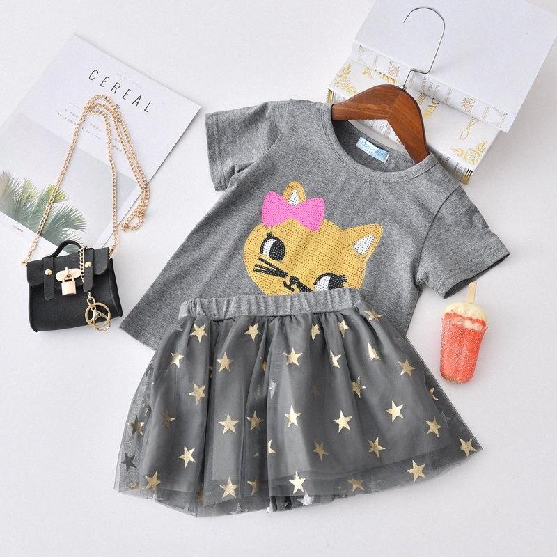 Estate Nuovi vestiti delle ragazze del fumetto del gatto T-shirt + Star Gonna capretto del vestito vestiti dei vestiti 2PCS ragazze del vestito bambini Imposta 9kne #
