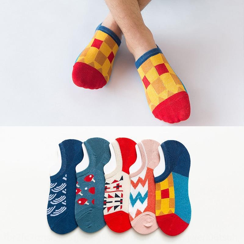 algodón invisibles bajo alto contraste de color de algodón de franjas de color de los calcetines cortos de la manera de los hombres trendy todo-fósforo pareja