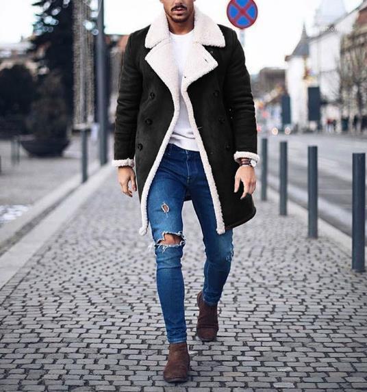 Breasted del color de la manera del color sólido de invierno gruesa capa ocasional de la solapa del cuello Abrigos Ropa de Hombre diseñador Doble