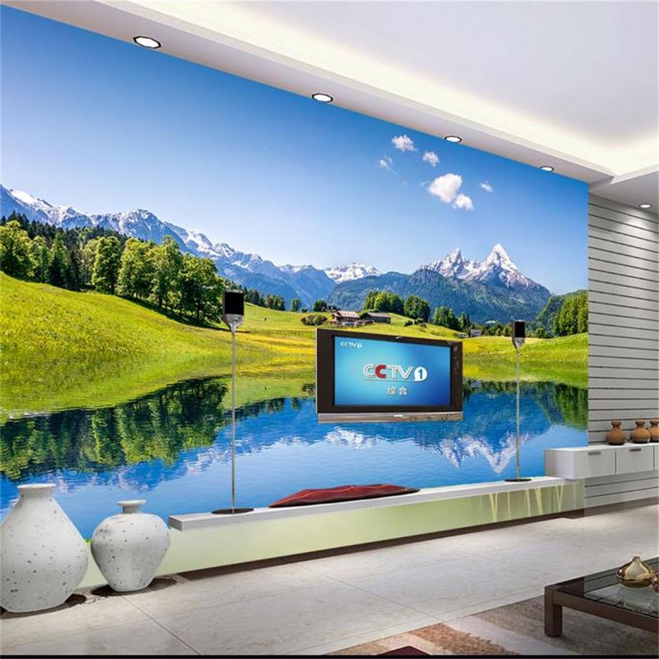 Custom Size 3D Photo Wallpaper Living Room Mural Mountain Grassland Lakeside 3d Picture Sofa TV Backdrop Home Decor Creative Hotel Wallpaper