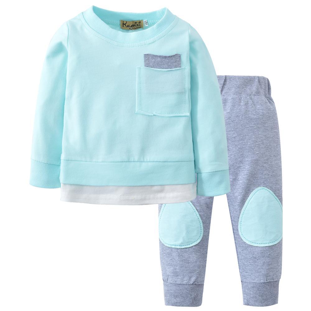Nuevo 2019 Ropa infantil otoño recién nacidos muchachas de los bebés juego de ropa de la manga linda de las tapas + pantalones largos del juego 2pcs del niño Trajes Y200807