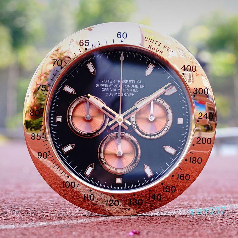 Nordic Luxo Relógio de parede de metal criativo moderno ouro parede relógios Grande calendário de parede Relógios Home Decor Luminous Silencioso presente L048 T200616