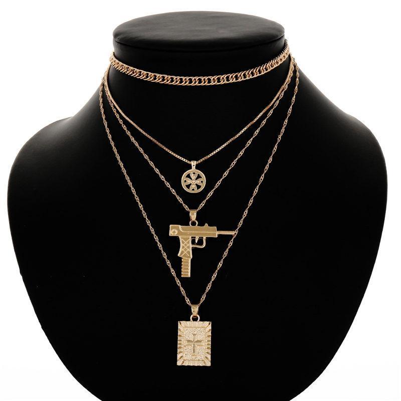 Ювелирные изделия Крест пистолет ожерелье Серебро Золотые цепочки Многослойная ожерелье Choker женщин моды Будет и Sandy подарок