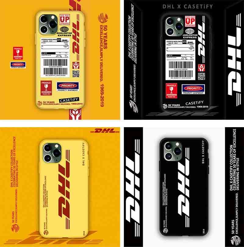 الرجال والنساء مناسبة للتذكرة المد العلامة التجارية DHL iPhone11 قضية الهاتف النقال مناسبة لأبل XR / 11promax شاملة للجميع TPU لينة