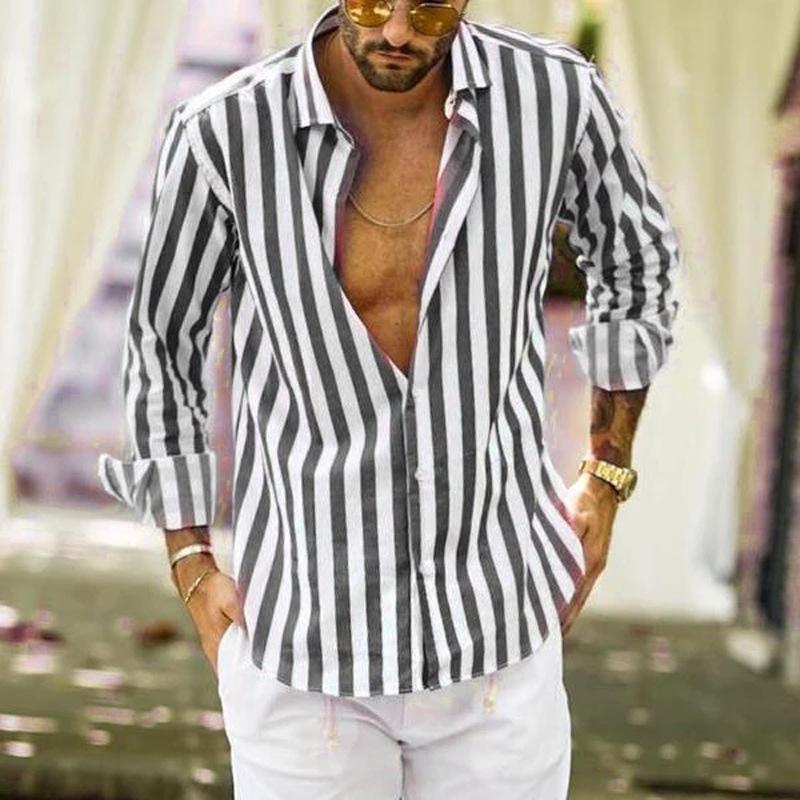 Mens-beiläufige Hemden Cardigan gestreiftes Langarm Revers Ausschnitt loses Kleid Hemden Freizeit Einreiher Homme Tops