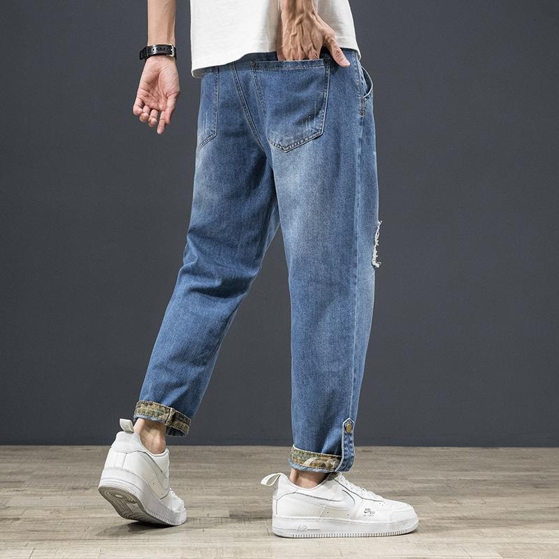 mode casual hommes d'outillage en vrac pantalons jeans minces été droites et des jeans patch camouflage hommes marque pantalon cheville longueur Harlan de XMZ