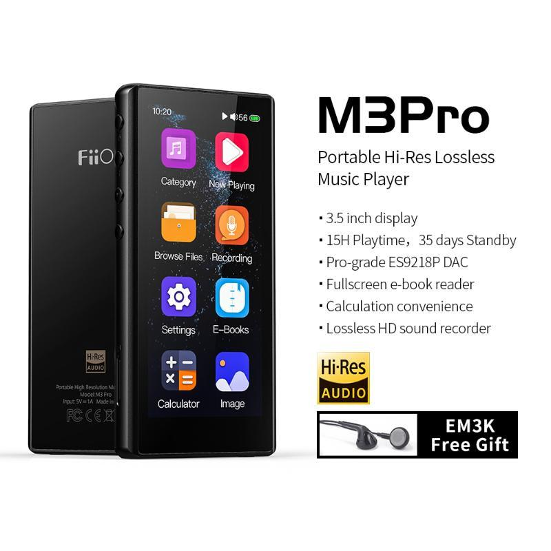 FiiO M3 pro 3.5inch Full Touchscreen Player Music Audio Mp3 With Voice Recoder for Student,Kids with Earphone EM3K free gift