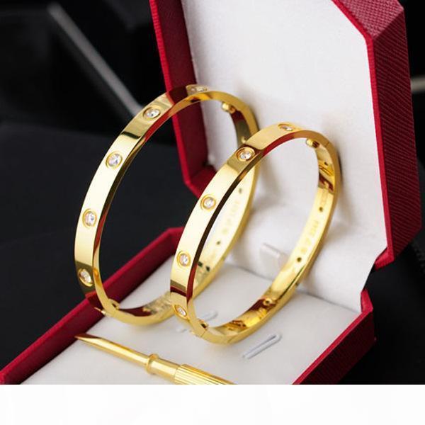Orijinal kutu kadınlar sevgi ile tornavida ve taş vidalarla Klasik Moda Gül altın 316L paslanmaz çelik vida bilezik bilezik