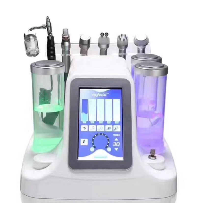 6 in1 Microdermabrasion Hydro Peel Hydrafacial Hydra Wasser Peeling Wasser Dermabrasion Kalt Hammer BIO Ultraschall RF Spa Equipment