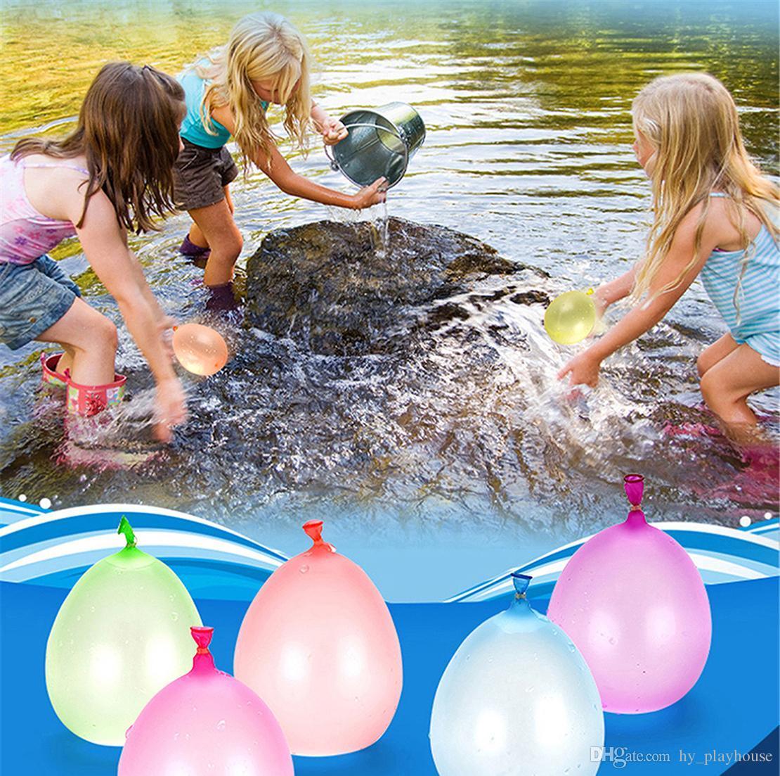 1SET = 111pcs الصيف ماجيك المياه الملونة تعبئة بالون الأطفال شاطئ حزب لعبة في الهواء الطلق المياه قنبلة بالون الأطفال الجدة لعبة الكمامة