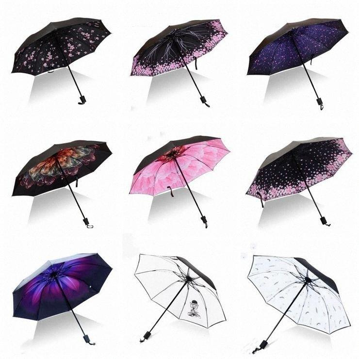 La stampa Parasole Ombrello antivento Big pieghevole ombrelloni colorati Tre piegati invertito Flamingo 8Ribs Gentle regalo creativo LXL946- 5F4c #