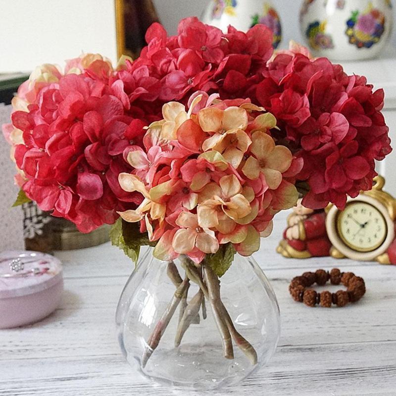 Q5Q7 flor de la decoración de flores artificiales del Hydrangea sede de origen boda Autum Decoración de seda de alta calidad de plástico partido de habitaciones