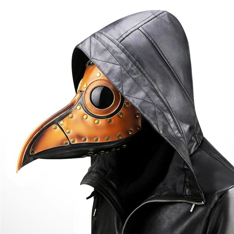 Pest-Doktor Maske, Steampunk lange Nase Bird Beak Maske, Halloween-Kostüm Requisiten Ledermaske für Party Brown JK2009PH