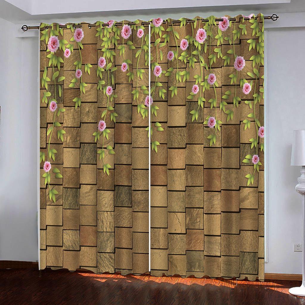 Luxus-3D Blackout Vorhänge Fenster Goldener Stein Blumen Schlafzimmer Vorhang Modern Office Hotelküche Zuhause-Wand-Deko