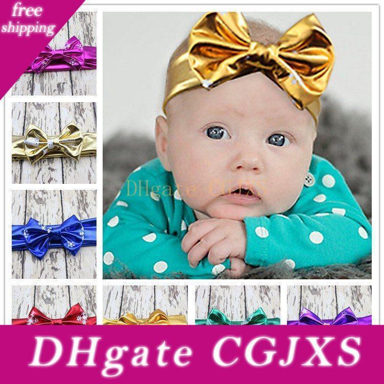 Le plus récent Baby Girl de Noël métallique Head Wrap Accessoire cheveux Pu bowknot bronzante Turban Twist doux noeud Oreilles de lapin arc élastique Bandeau Fd6570