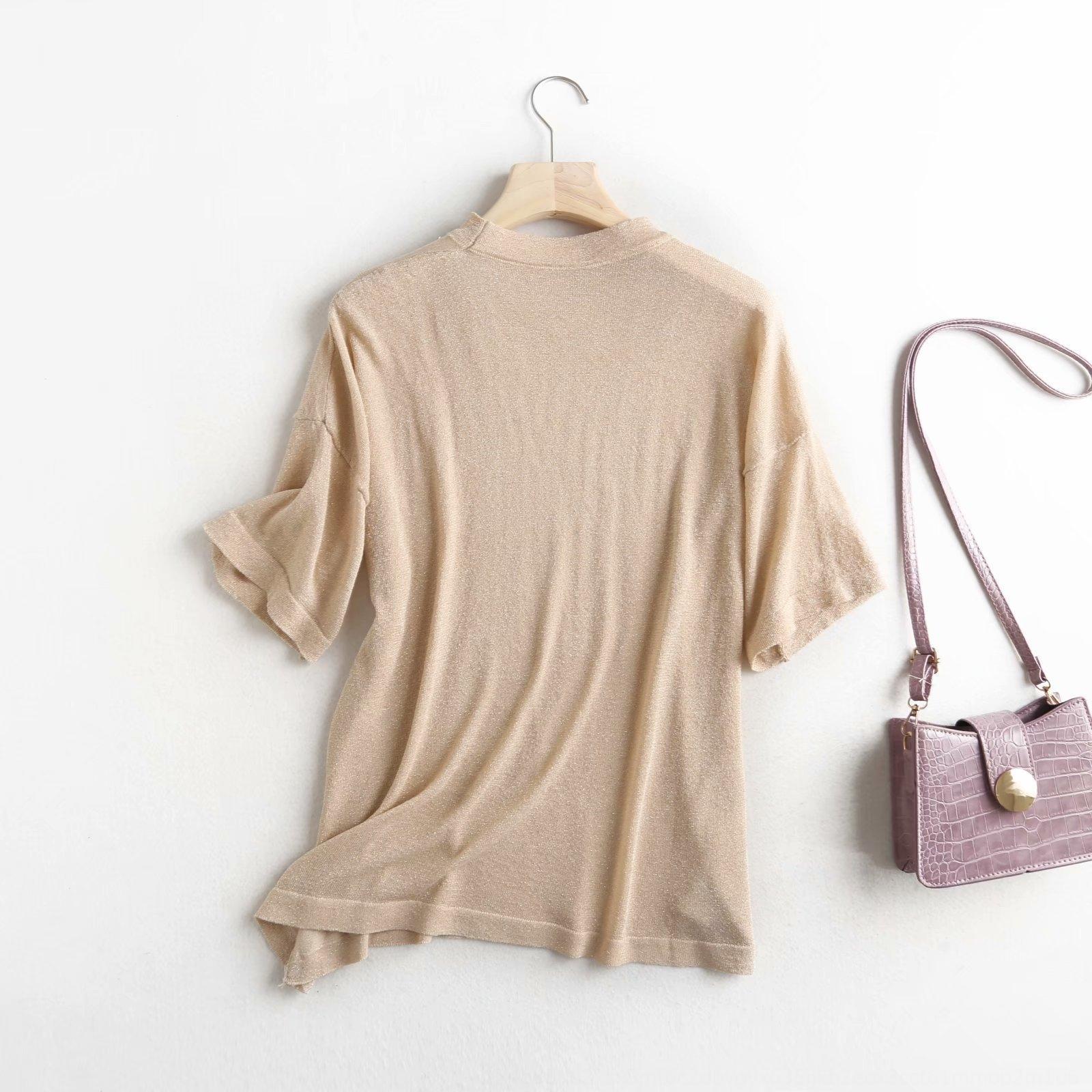 estilo mulheres coreanas t-shirt de seda e 2020 verão nova e simples em torno do pescoço brilhante de seda manga curta T-shirt de malha mulheres H356 de seda