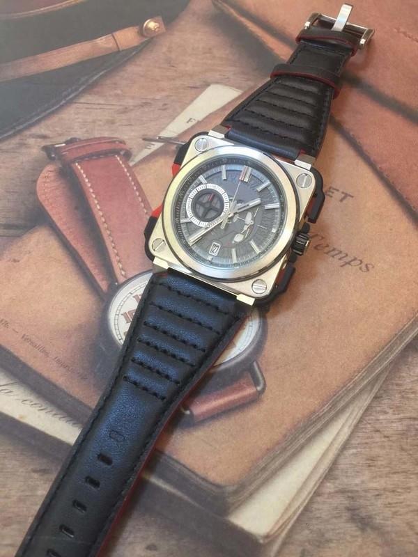 Мужские наручные часы Открытый Скелет циферблат хронограф Кварцевый Square Silver Корпус из нержавеющей стали Точная Мужские часы с черным Кожаный ремешок