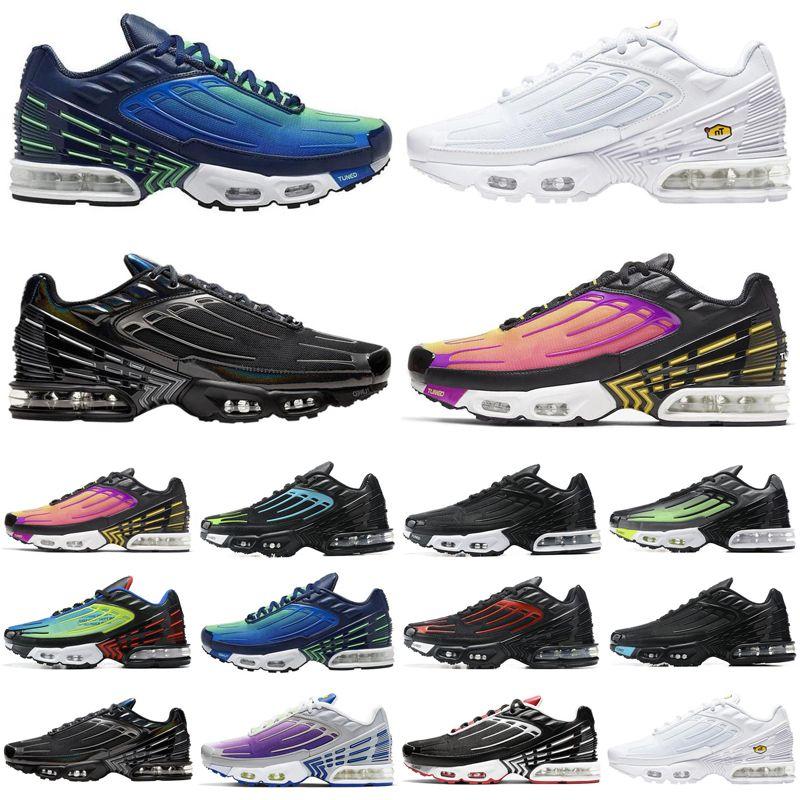 nike air max airmax tn quente, mais 3 homens mulheres tênis de corrida dos homens brancos triplos Preto Iridescent Parachute Pacote mulheres treinadores desportivos sneakers