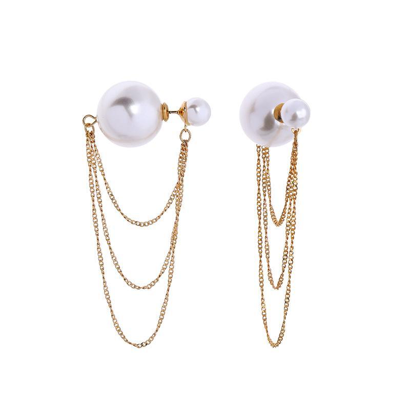Frauen Schmuck Trendy Damen Mehrschichtige Quasten-Ohrringe arbeiten Perlen-Ohrringe