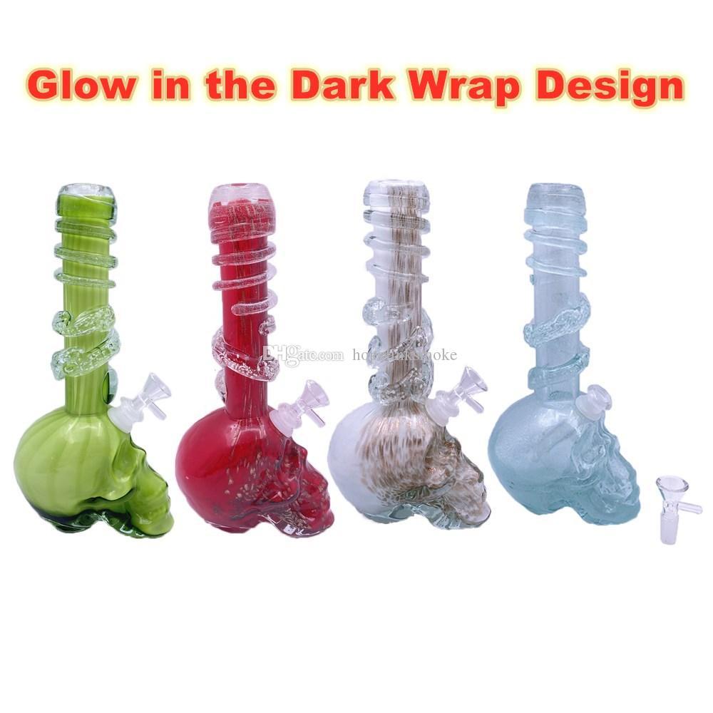 Schädel-Kopf-Basisrauchglas Wasserrohre in der Dunkelheit eingewickelt Design Weiche Glasbongs Dab Rigs für trockene Kräuter Wachs-Öl Rauchen Glow