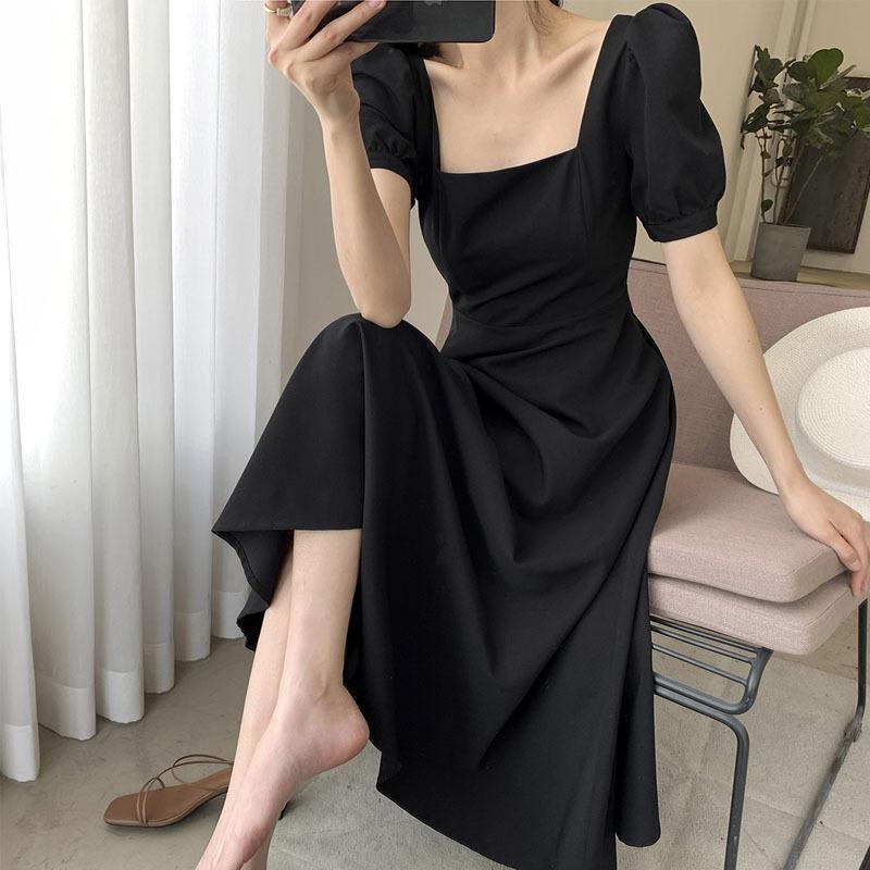 verão 2020 vestido preto nova cintura de emagrecimento temperamento altura do joelho estilo Hepburn Praça vestido colar de mulheres