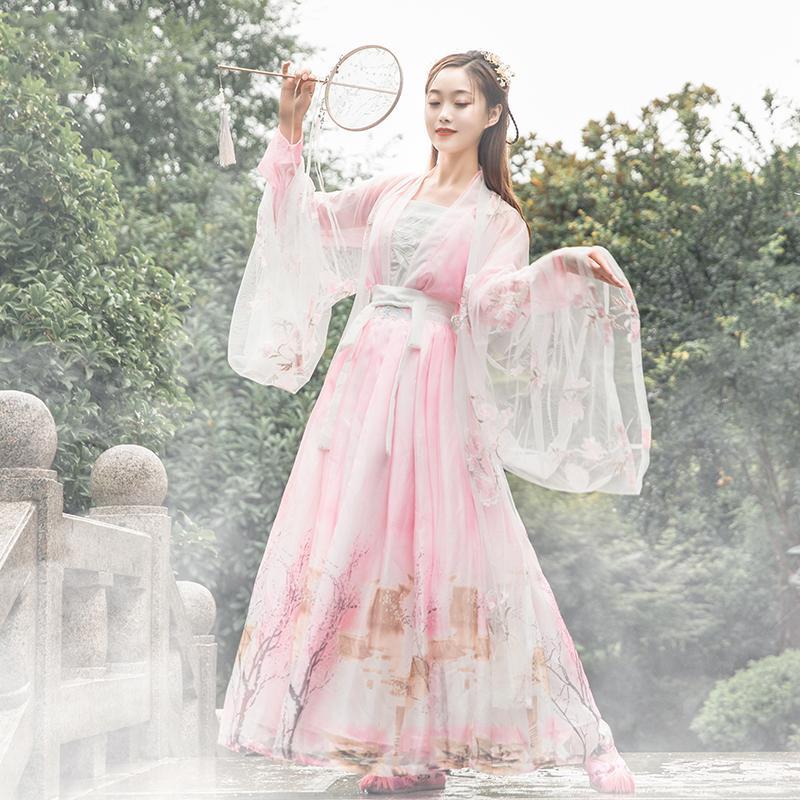 무대 착용 전통 민속 춤 의상 여성 Hanfu 의류 핑크 드레스 축제 요정 의류 클래식 4 조각 세트 BL4391