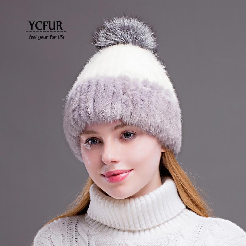 YCFUR invierno capsula los sombreros Gorros para las mujeres cosen las rayas del casquillo del sombrero genuino Mujer Piel real Beanie sombrero con fur Pom Sombreros