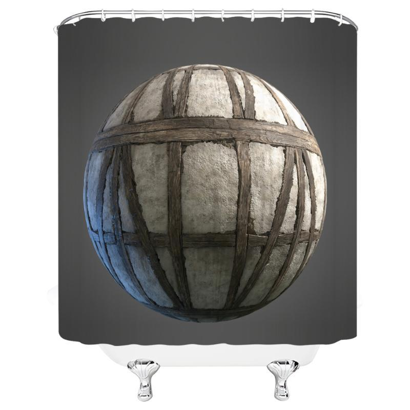 """Round Ball Waterproof And Mildew Proof Fabric Shower Curtain Bathroom 72 """"x 72"""" w / 12 Hook Free Delivery"""