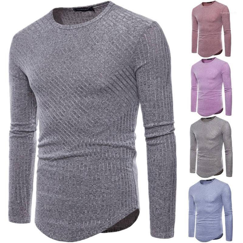 Magliette a righe O Collo manica lunga Mens Tops Plus Size casual Designer adolescenti capi in maglia Mens