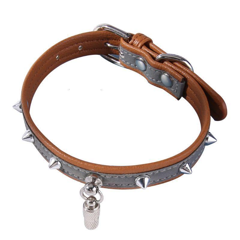 Кожа Кошка Собака Отражающий ошейник с ID Tag Капсула Подвеска заклепками ожерелье HHF2