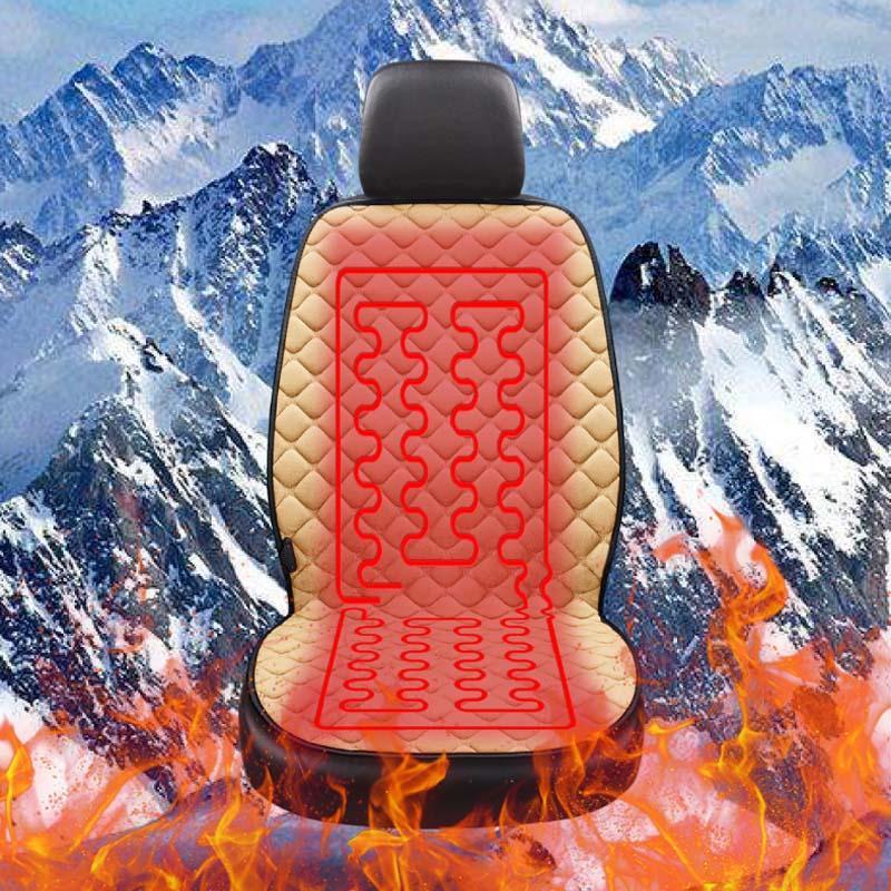 AUTOYOUTH 12V de voiture chauffée Coussin protecteur pour le chauffage en hiver Réchauffez Universal 100% coton Tissu 1PCS / 2PCS Beige / Noir