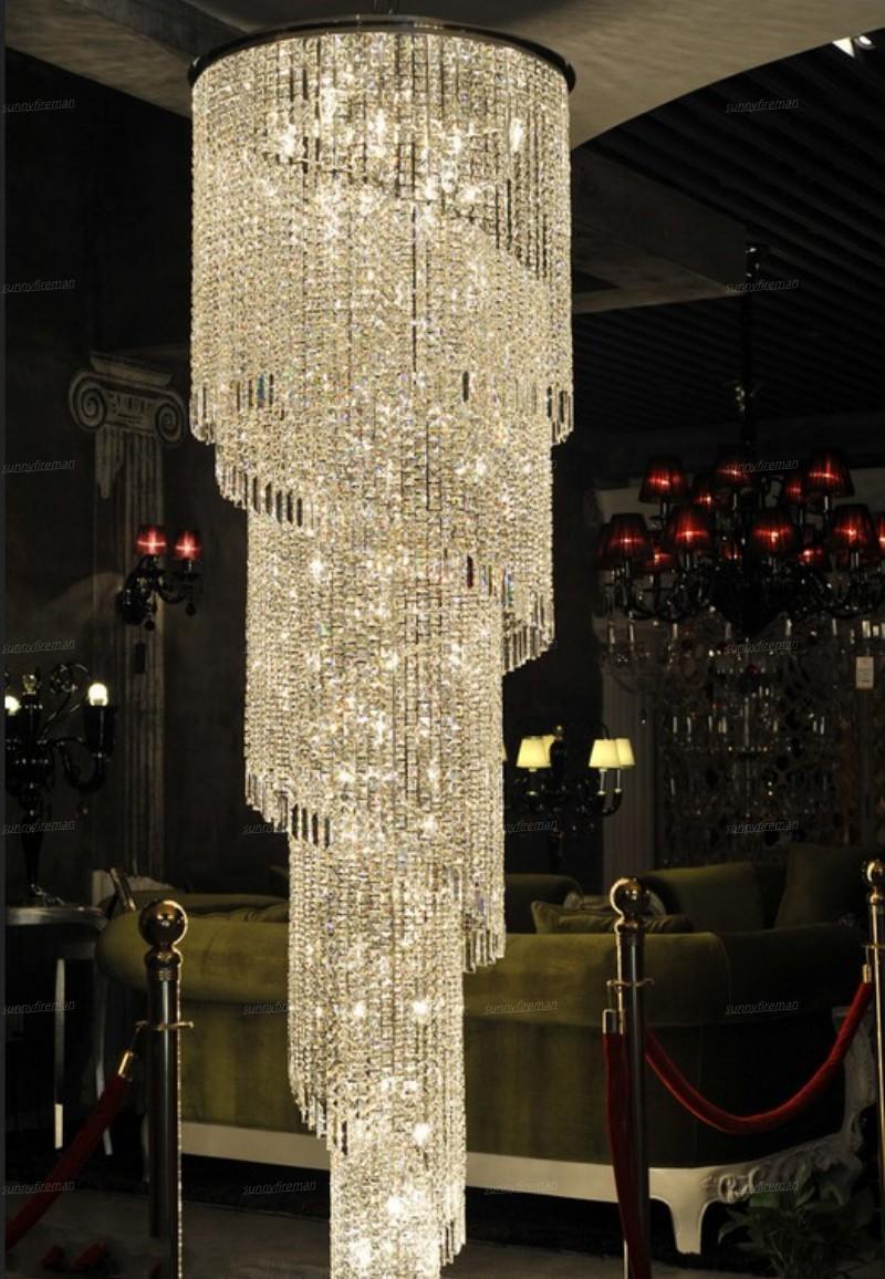modern long spiral chandelier crystal lamp Dia60*H300cm lustre staircase lighting fixtures