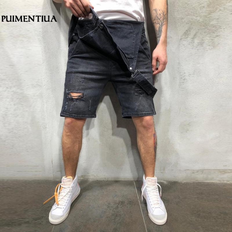 Jeans da uomo Loozykit 2021 Summer Casual Sindacata Allentato Ginocchio Ginocchio Denim Strappato Denim Bib Homme Hole Belt Rompere Streetwear
