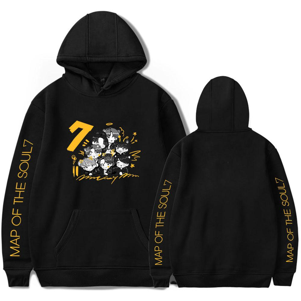 Kpop Cartoon Bangtan Boys Album Plan de The Soul 7 Hoodies WORLD TOUR Concert Sweat Hommes / Femmes Hoodies Kpop Harajuku hoodies MX200812
