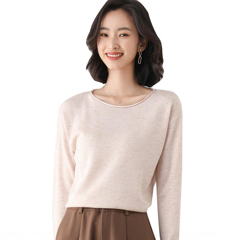 2020 autunno e maglione nuovo V-collo delle donne camicia di base lungo manicotto allentato lavorato a maglia di colore solido interni pullover pullover od3Ug