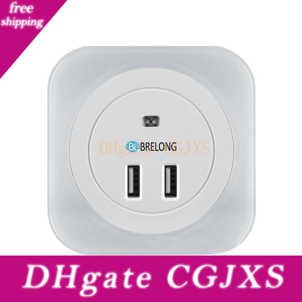 Brelong doppia interfaccia USB di ricarica Plug -In controllo dell'illuminazione ad induzione Corridoio lato del letto luce di notte luce bianca calda